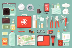 Survival emergency kit for evacuation vector objects set on white background